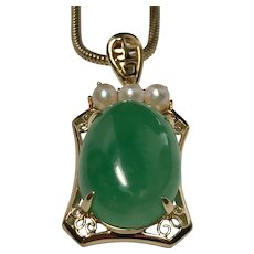 14 K Yellow Gold Jade/Pearl Pendant/Necklace