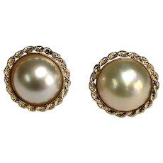 14 K Yellow Gold Mabe Pearl Pierced Post Earrings