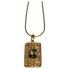 14 K Yellow Gold Greek Key Smoky Quartz & Citrine Pendant/Necklace