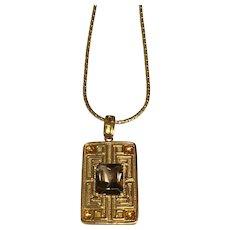14 K Yellow Gold Greek Key Smoky Quartz & Citrine Pendant/Necklace
