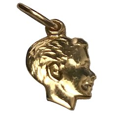 14 K Yellow Gold Young Boy's Head Charm