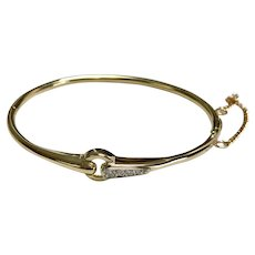 14 K Yellow Gold Diamond Hinged Bangle With Safety Chain