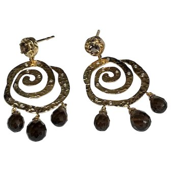 14 K Yellow Gold Hammered Swirl, Pierced Post Dangle, Diamond & Smoky Topaz Earrings