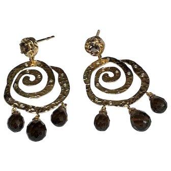 14 K Yellow Gold Hammered Swirl, Pierced Post Dangle, Diamond & Smoky Topaz Earrings
