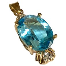 14 K Yellow Gold 6.00 Carat Oval Shape Faceted Topaz & Diamond Pendant