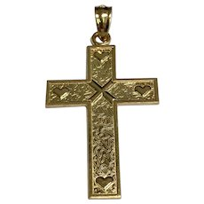 14 K Yellow Gold, X and Hearts Gold Loves Me Cross.