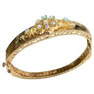 14 K Yellow Gold Hinged Opal Bangle Bracelet