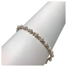 14 K Yellow Gold Natural Pearl & Diamond Bracelet