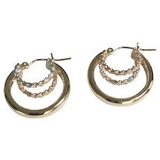 14 K Tri Gold Twisted Triple Hoop Pierced Earrings