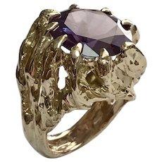 Custom 14 K Yellow Gold 10.5 CT Imitation Alexandrite Claw Ring