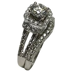 Diamond All-In-One Engagement Ring & Wedding Band -14 k Gold Round 1.00ctw