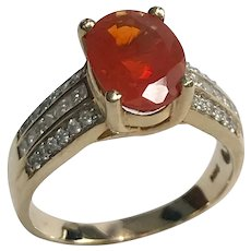 Vintage 14 k Gold Glowing Mexican Fire Opal And Diamond Ring.