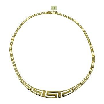 14 k Yellow Gold Hinged Greek Key Necklace
