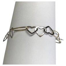 14 K Two Tone Gold Open Heart Link Bracelet