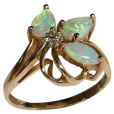 14 K Yellow Gold Three Stone Opal & Diamond Ring