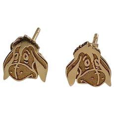 14 K yellow Gold Eeyore Pierced Post stud Earrings
