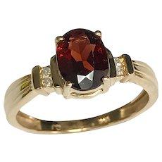 14 K Yellow Gold 1.40 Carat Rhodolite Garnet & Diamond Ring
