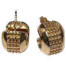 14 K Yellow Gold Wide Pierced Huggie Hoop Earrings