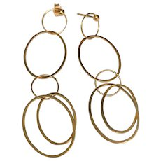 14 K Yellow Gold Circle And Oval Long Dangle Pierced Post Earrings