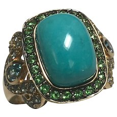 14 K Yellow Gold Persian Turquoise , Tsavorite Garnet & Blue Topaz Ring