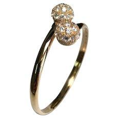 14 K Yellow Gold Flexible Crystal Ball Bangle Bracelet