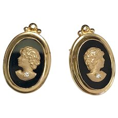 14 k Yellow Gold Carved Three Dimensional Gold Cameo & Diamond Onyx Post Earrings.