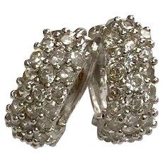 14 K White Gold Faux Diamonds Huggie Hoop Earrings