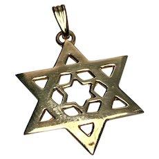 14 k Yellow Gold Star Of David Pendant