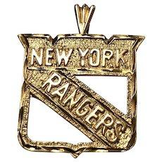 14 kt Yellow Gold New York Rangers NHL Hockey Pendant