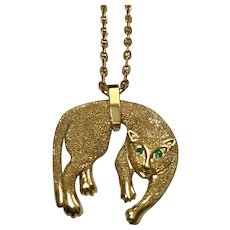 14 K Yellow Gold Panther Slide Pendant/Chain, 18""