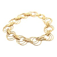 "Beautiful 14K Handcrafted Yellow Gold Circular Link Bracelet Measures 8"" Super Nice!"