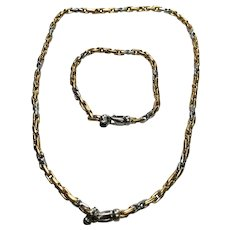 18 K Two Tone Hand Made Link Onyx Necklace /Bracelet Matching Set