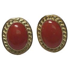 18 k Yellow Gold Pierced Post Coral Earrings