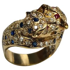 18 K Yellow Gold Double Head Tiger Ring