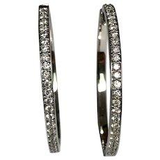 18 K White Gold 1.75 CTW Diamond Pierced Hoop Earrings