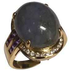 18 K Yellow Gold Purple Jadite, Diamond And Amethyst Ring, Comes With IGI Cert