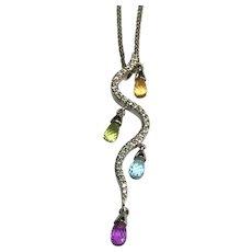 18 K White Gold Gemstone Briolette & Diamond Pendant/Necklace