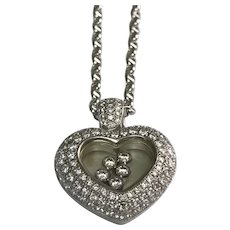 18 k White Gold 2.00 Carat Floating Diamond Heart Necklace