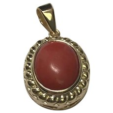 18 K Yellow Gold Coral Pendant