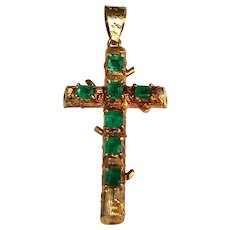 18 K Yellow Gold Emerald Hand Crafted Cross