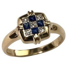 Vintage 18 K Yellow Gold  LeVian Princess Cut Cornflower Ceylon Sapphires And White Diamond Ring.