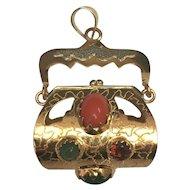 Victorian 18 K Yellow Gold BIG Jeweled Purse Watch Fob Charm/Pendant