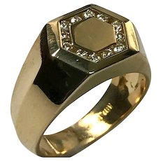 18 K Yellow Gold Diamond Unisex Signet Ring