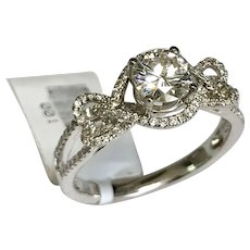 Simon G, 18 K White Gold 1.18 CTW Diamond Engagement Ring~ GIA Cert