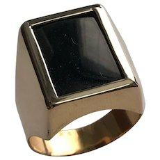 18 K Yellow Gold, Elongated, Inlaid Onyx Unisex Ring