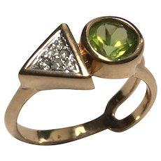 18 K Yellow Gold Peridot & Diamond Modernist Ring