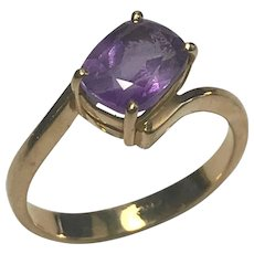 18 k Yellow Gold 1.25 carat Amethyst Ring