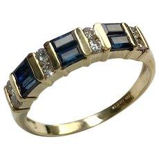 18 K Yellow Gold Sapphire & Diamond Band