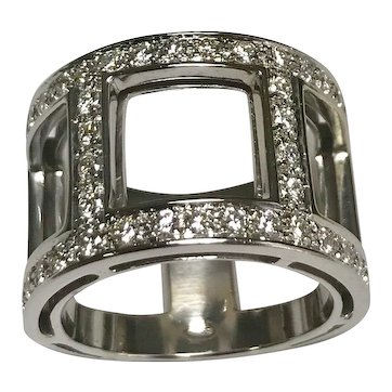 18k White Gold Diamond Cut Out Band ~ Circa 1980 Comes With IGI Cert