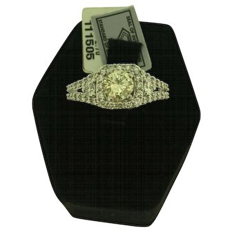 14k White Gold 1.44 CTW Round Diamond Solitaire Ring